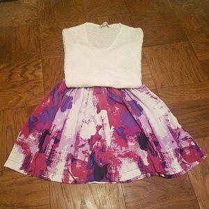 Pink, purple & white skirt - size M